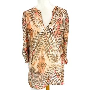 Travelers Collection   Chicos Sheer Blouse Animal